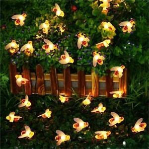 200LED 20.9M Warm White Bee Solar Christmas Party String Garden Lights