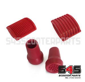 Rubber Styling Kit Red For Vespa PX LML T5 Stand Feet Brake Pedal & Kickstart