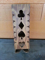 Vintage handmade wood playing card deck dispenser ? folk art collectible