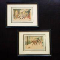 Paire de gravures coloriées à la main signées Le Rallic parfait état cadre