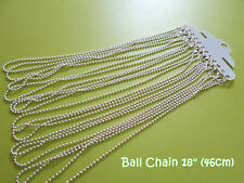 Silver Plated Lobster Clasp Ball Chains Necklaces - 18 inches - 3pcs