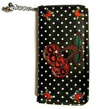 Banned CHERRY Sugar Teschio BOMBA A Pois Rockabilly Faux Leather Wallet Purse