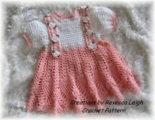 """TWO  """"DAINTY & LACY"""" Baby Dress CROCHET PATTERNS (17-18) by REBECCA LEIGH--9/18M"""