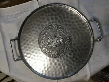 Cromwell Hand Wrought Aluminum Serving Tray W/  Twisted Handles Fruit Design