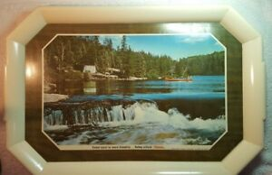 HAMM'S plastic composite beer serving tray, old, canoe in river with white tent