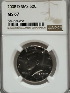 2008-D SMS KENNEDY HALF DOLLAR NGC MS67 Pop 53 w/23 finer