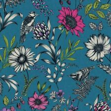 Botánica AVES CANORAS Papel pintado flores y Pájaros Hojas - ARTHOUSE