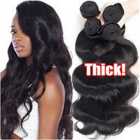 3/4 Bundles Brazilian 8A Virgin Human Hair Body Wave THICK Weave Weft Extensions