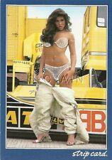 Original Italian Nude Pinup PC- Strip Card- Brunette- Race Car Driver Undresses