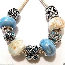 8 pc EUROPEAN CHARM BEAD SET Blue Z23 Lampwork, Metal, Porcelain Ships from USA
