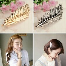 Alloy Gold Silver Leaf Feather Hair Clip Hairgrip Accessory