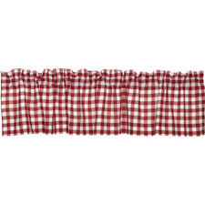 Valance VHC Brands Buffalo Check Red White 72 inch Country Curtain FREE SHIPPING
