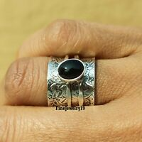 Black Onyx Ring Solid 925 Sterling Silver Ring Spinner Ring Meditation Ring B72