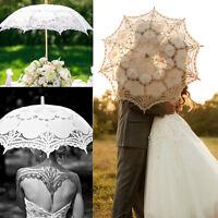 Chic Lady Wedding Umbrella Vintage Handmade Cotton Parasol Lace Sun Bridal Party