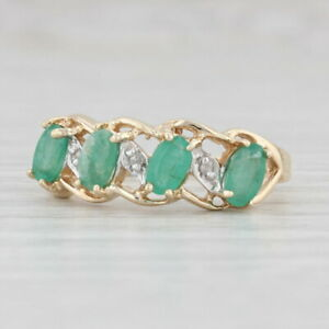 1ctw Emerald Diamond Ring 10k Yellow Gold Size 7 Stackable May Birthstone
