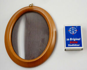 Oval Small Wood Frame, Braun, Domed Glas, Hanger 4 1/2x5 11/16in (1B16)