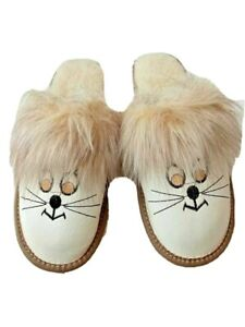Womens leather slippers & Sheepwool Warm Slippers Size 4 5 6 7 8 9 10