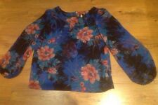 Ladies Long Sleeved Blue Floral Patterned Blouse Size 12 New Look
