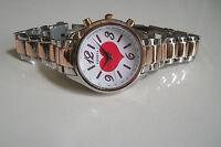 Silver/Rose Gold Finish Heart Inspired Style Bracelet Fashion Boyfriend Watch