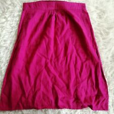 M&S Womens Berry Pink Linen Skirt Size 14 Straight Elastic Waist Casual Holiday