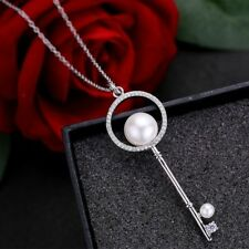 Best Sell Huge Key Design Natural White Pearl Gemstone Silver Necklace Pendants