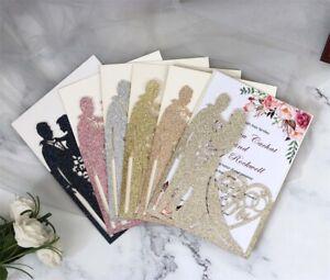 50/100PCS Wedding Birthday Glitter Invitations Card Laser Cut Party Romantic