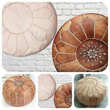 TWO MOROCCAN POUFFE NATURAL & TAN LEATHER POUF OTTOMAN FOOTSTOOL BEST GIFT IDEA