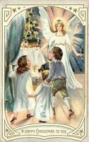Victorian Christmas~Children in Pajamas Find Angel at Candle Tree~Gold Leaf~TUCK