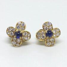 Van Cleef & Arpels Sapphire Diamond 18k Yellow Gold Trefle Earrings
