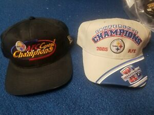 2pc lot Official NFL Pittsburgh Steelers AFC Champs 1997 snapback &2005 Hat Cap