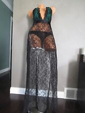 VICTORIA`S SECRET!!!VERY SEXY BLACK LONG NIGHTGOWN SZ:MEDIUM