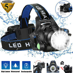 90000LM Waterproof Head Lamp Torch Headlight LED USB Rechargeable Headlamp Fish