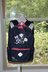 ❤️NEW!!! Hanna Andersson Backpack Navy Blue w/Embroidered Butterfly & Flowers