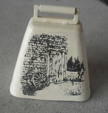 Vintage Bronze Cow Bell with Image of Barn on Side