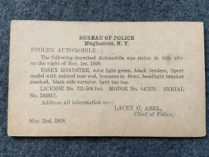 1928 Stolen Car, Bureau of Police, Binghamton, New York Vintage Postcard