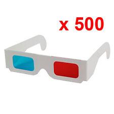 Set 500 Brille 3D Anaglyphen rot/Zyan blau neu Karton