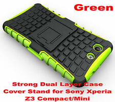 For Sony Xperia Z3 Compact Green Heavy Duty Strong Tradesman TPU Hard Case Cover