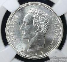 Venezuela 1 Bolivar 1965 MS63 NGC silver Y#37a 1B Blast White Beauty.