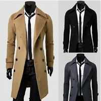 Men's Slim Fit Fusion Thick Double Breasted Overcoat Trench Coat Jacket Outwear