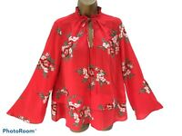 M&S Marks & Spencer Floral Red Top Shirt Blouse Frill Tie Neck Long Sleeve UK 12