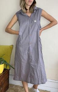 Lucy Yak 100% Organic Cotton MIDI Shirt Dress M Uk 12 Soft Grey