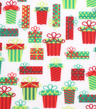 Christmas Presents & Bows on White Cotton Fabric  BTY