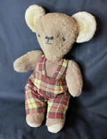 ANTIQUE VINTAGE OLD TEDDY BEAR DUNGAREES ARTICULATED GLASS EYE FLAT FACE TOY 15""