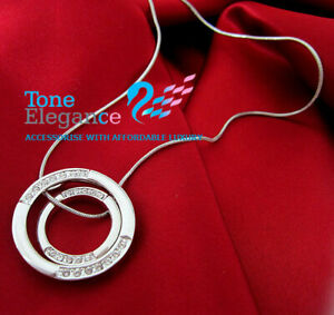 9ct white gold GF double circle solid women necklace made with swarovski