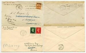BURMA FLIGHT AIRMAILS GB 1 1/2d RATE + FIRST ALL UP MAIL 1938 SWINDON EASTBOURNE