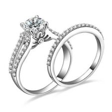 Split Band 14k White Gold Forever One Moissanite Bridal Set Engagement Ring