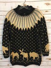 The Eagle's Eye Sport Hand Knit Chunky Sweater Black Tan Moose Medium