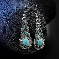 Women Natural Turquoise Crystal Tibet Silver Hook Dangle Earrings Jewelry hs