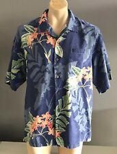 Fab TOMMY BAHAMA Silk Blue Floral Hawaiian Print Short Sleeve Shirt Mens Size XL
