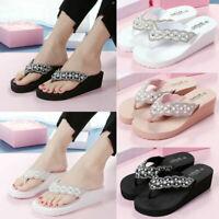 Women Wedge Platform Thong Flip Flops Ladies Summer Beach Sandals Slippers Shoes
